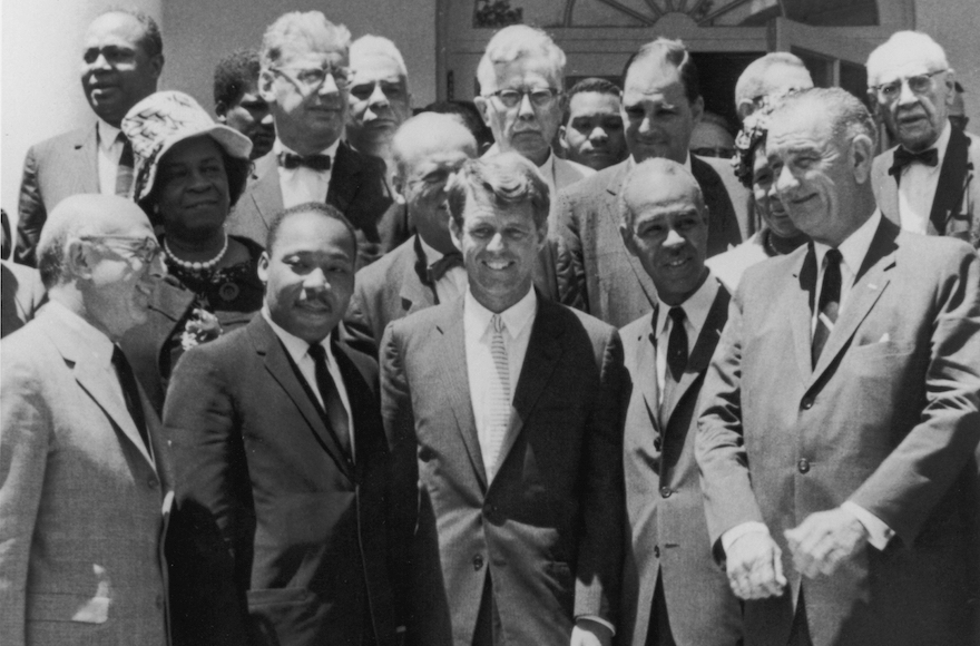 Front row, left to right, Benjamin R. Epstein, national director of the Anti-Defamation League B'nai B'rith, civil rights leader Martin Luther King Jr., US Attorney General Robert F. Kennedy, Roy Wilkins of the NAACP and US Vice President Lyndon B. Johnson outside the White House, June 1963. (Hulton Archive/Getty Images)