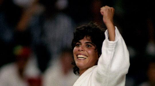 Yael Arad celebrates during a judo match