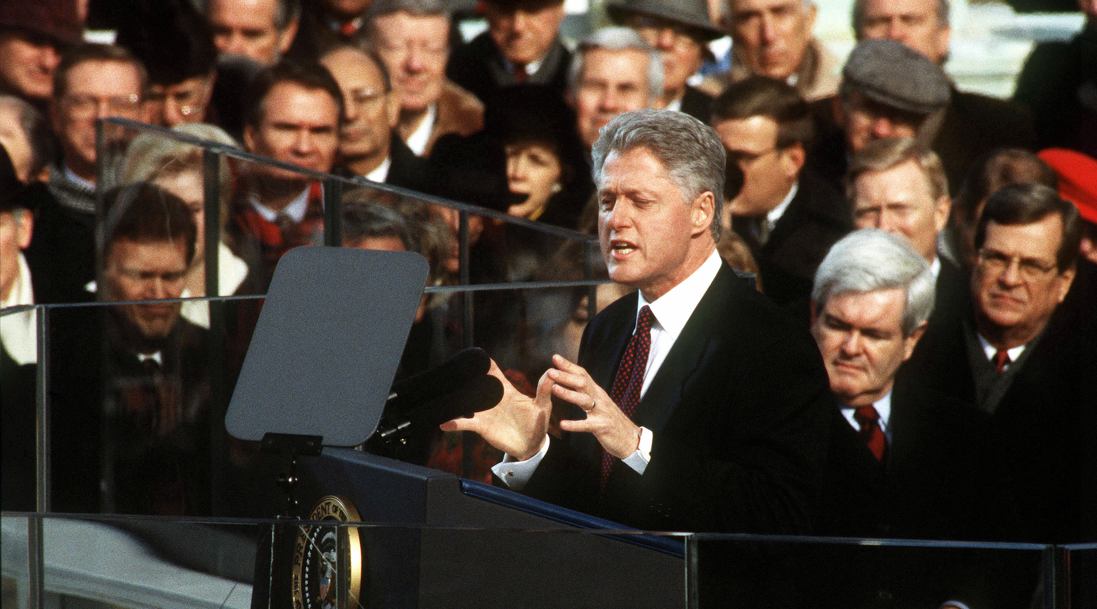 Bill Clinton gives his inaugural address in front of the capitol, Jan. 20, 1997. (AFIC/Wikimedia Commons)