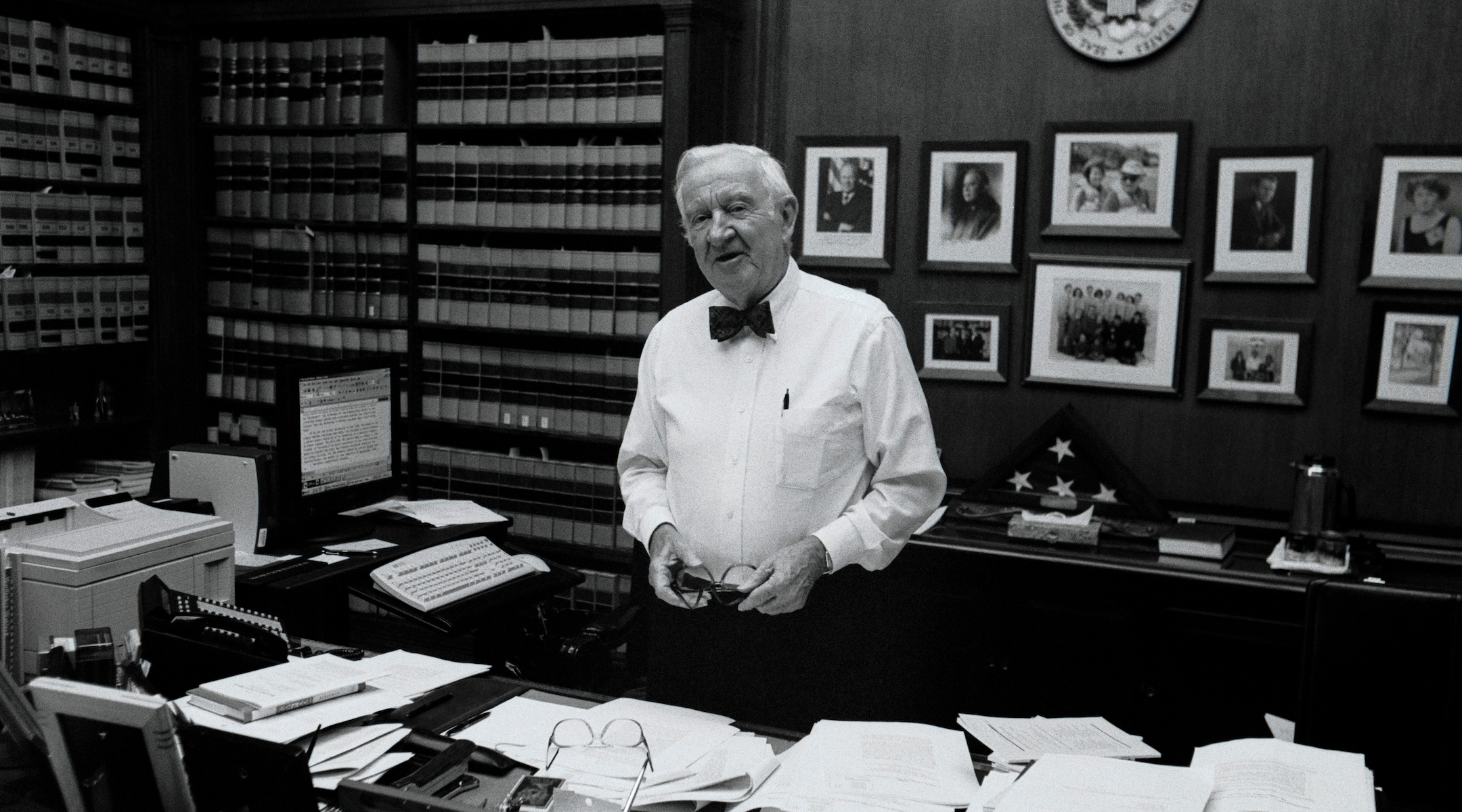 Supreme Court Justice John Paul Stevens poses for a portrait in his chambers at the Supreme Court offices, June 17, 2002. (David Hume Kennerly/Getty Images)