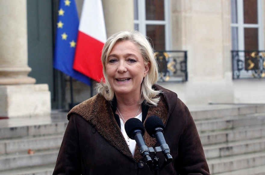 French far-right National Front leader Marine Le Pen talking to the media after a meeting with French President Francois Hollande two days after a deadly attack that occurred on January 7 by armed gunmen on the Paris offices of French satirical weekly newspaper Charlie Hebdo. (Thierry Chesnot/Getty Images)