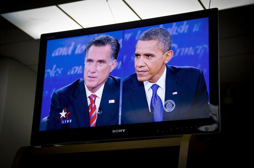 Mitt Romney, left, and President Obama, shown onscreen during their debate on Oct. 22, 2012, were generally in agreement on the Middle East at the Florida one-on-one on foreign policy. (Rosa Trieu/Neon Tommy via CreativeCommons)