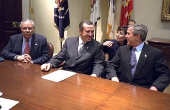 Recep Tayyip Erdogan sits with President Bush and Colin Powell in the White House on Dec. 10, 2002. (Paul Morse/White House)