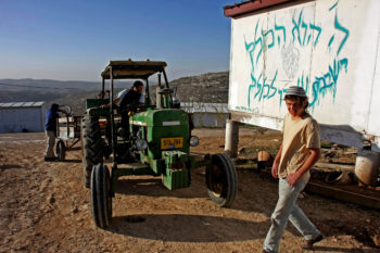 Seminary students, sometimes known as Hilltop Youth, outside the Yeshiva at Gilad Farm near Nablus, Dec. 11, 2008. (Brian Hendler)
