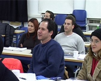 """Students attend a Hebrew class in Jerusalem run by Amishav, a group helping descendents of forced converts in Spain return to Judaism. (""""Shlomo Blass, IsraelNationalNews.com"""")"""