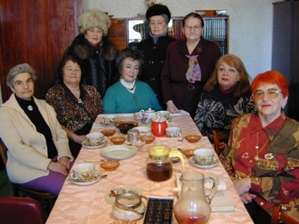 A group of women in Akademgorodok, Russia, take part in a weekly social lunch where they discuss Jewish culture, politics and history. (Ezra Nathan)