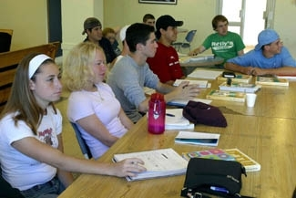 Students from Hamagshimim learn about Rosh Hashanah in a class in Jerusalem, Sept. 15. (Brian Hendler/JTA)