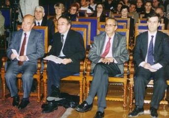 Speakers at an event honoring Krakow´s Righteous Gentiles wait for their turn at the podium: from left, Tadeusz Jakubowicz, president of Krakow´s Jewish Community; Michael Sobelman, press officer of the Israeli Embassy in Warsaw; Maciej Kozlos (Carolyn Slutsky)
