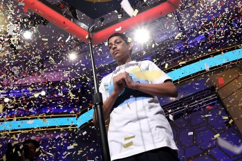 Confetti falling over Arvind Mahankali of Bayside Hills, N.Y., after he won the 2013 Scripps National Spelling Bee in Oxon Hill, Md., May 30, 2013. (Alex Wong/Getty Images)