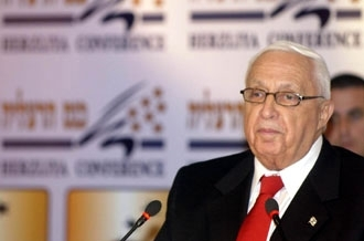 Israeli Prime Minister Ariel Sharon speaks Dec. 18 during a security convention in the Israeli coastal town of Herzliya. (Pool/BP Images)