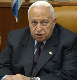 Ariel Sharon speaks at the opening of the weekly Cabinet meeting in his Jerusalem office March 14.  (Brian Hendler)