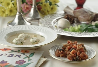A seder plate, top right, and other traditional seder foods. (Hadassah Jewish Holiday Cookbook)