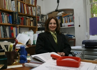Sivan Maas, Israel´s first secular humanistic rabbi, sits in her office in Jerusalem, March 22. (Brian Hendler)