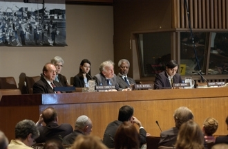 Elie Wiesel, center, takes part in a U.N. conference on anti-Semitism along with other panelists, June 21 in New York. (U.N.)