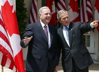 Canadian Prime Minister Paul Martin and President Bush stand outside the White house on April 30. (White House)