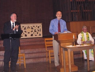 Cantor Oscar Rosenbloom, left, Rabbi Yeshaia Charles Familant, center, and Father John Hester lead services in the chapel at Berkeley´s Pacific School of Religion. (Sue Fishkoff)