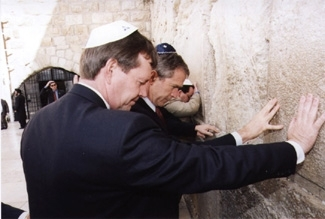 President Bush, then governor of Texas, visits the Western Wall during a 1998 tour of Israel for Republican governors.  (Republican Jewish Coalition)