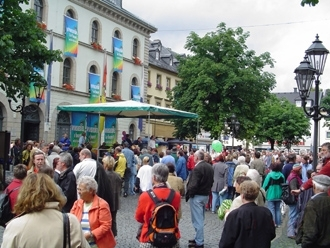 """Locals demonstrate against neo-Nazis  in front of City Hall in Wunsiedel, Germany, on Aug. 21. (""""Alliance for Democracy and Tolerance, Berlin"""")"""
