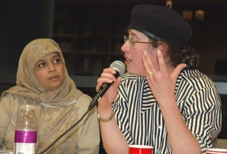 Sarah Sayeed, left, and Devora Zlochower take part in a panel discussion on modest dress Oct. 26., at the JCC in New York. (Karen Haberberg)