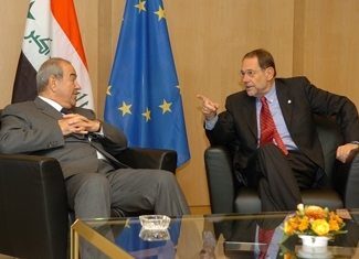 Javier Solana, right, meets with Ayad Allawi, the prime minister of Iraq, at the Council of the European Union in Brussels, May 11. (The Council of the European Union)