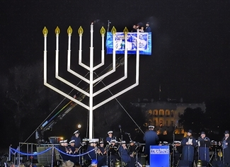 The 25th anniversary lighting of the National Chanukah Menorah on the Ellipse in Washington, on Dec. 7. (Arnie Sachs )