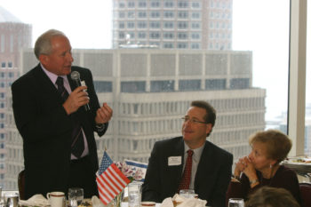 Avi Dichter, a Knesset member from the Kadima Party, speaks at Boston's Harvard Club during a weeklong seminar on American Jewry for Knesset members, April 5, 2011. (Howie Hecht)