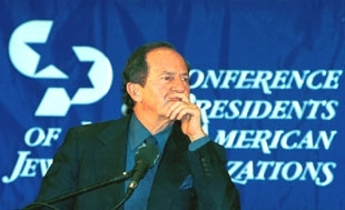 Mortimer Zuckerman, president of the Conference of Presidents of Major American Jewish Organizations, attends a dinner in Jerusalem as part of the group´s solidarity mission to Israel. (Brian Hendler)