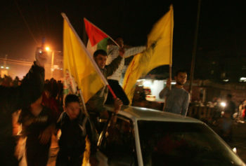 Palestinians celebrating in the streets of Gaza as Israel and Hamas agreed cease-fire to halt an eight-day conflict, Nov. 21, 2012.  (Abed Rahim Khatib/Flash 90)