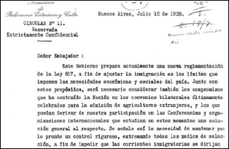 "´Directive 11,´  issued by the Argentine foreign minister,  instructed that country´s diplomats to deny visas to ""undesirables or the expelled,"" a reference to European Jews. (Joe Goldman)"