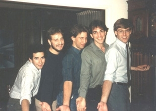 Daniel Pearl at 17, center, in his parents' home with friends. (Photo courtesy Scott Liebman)