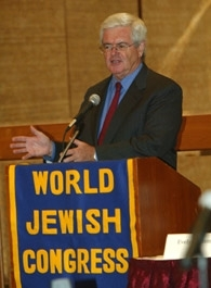 Newt Gingrich, the keynote speaker at a World Jewish Congress forum on United Nations reform, addresses attendees at the New York event on Sept. 9. (Allan Tannenbaum)