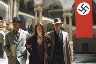 Sophie Scholl, played by Julia Jentsch, is arrested in the film, ´Sophie Scholl: The Final Days.´ (Courtesy of Zeitgeist Films)