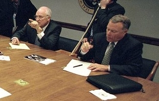 Lewis Libby, right, next to Vice President Cheney, takes part in a meeting in the Presidential Emergency Operations Center minutes after the Sept. 11 attacks. (David Bohrer/White House)