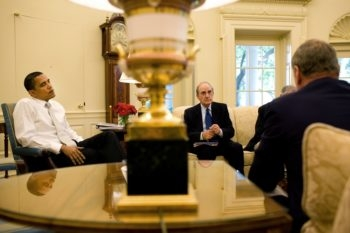 Following weeks of meetings between U.S. special envoy George Mitchell, center, and leaders in the Middle East, President Obama reportedly is set to put forth new proposals for advancing Israeli-Arab talks. (White House / Pete Souza)