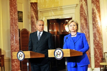 U.S. Secretary of State Hillary Clinton meets Egyptian Foreign Minister Aboul Gheit on May 27, 2009. Leaked State Dept. cables reveal that diplomats advised Clinton to defer to Gheit's aggrandized notion of Egypt's importance. (State Dept. / Michael Gross)