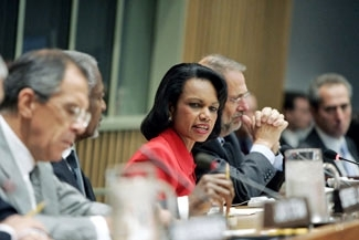 U.S. Secretary of State Condoleezza Rice speaks during a Middle East peace ´Quartet´ news conference Sept. 20. (Mark Garten/UN)