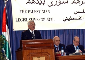 Palestinian Authority President Mahmoud Abbas speaks at the opening session of the new Palestinian Legislative Council on Feb. 18. (PPO/BP Images)