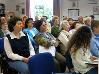 Congregants at the Jewish Congregation of Hameln, founded by an American who moved to the area. (courtesy Rachel Dohme)