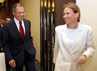 Israeli Foreign Minister Tzipi Livni and Russian Foreign Minister Sergei Lavrov arrive at a news conference in Tel Aviv,  Sept. 8, a day after Lavrov pressed Lebanese leaders about the U.N. cease-fire resolution and kidnapped Israeli soldiers. (Brian Hendler)