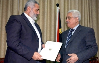 Palestinian Authority President Mahmoud Abbas, right, with Prime Minister Ismail Haniyeh of Hamas in Gaza in Februaray 2006. (PPO/BP IMAGES)