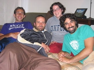 Residents of the San Francisco Moishe House, from left, David Persyko, Isaac Zones, Maia Ipp and Aaron Gilbert. (Sue Fishkoff)