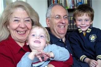 Rosy and Frank Jordan in a recent photo with two of their grandchildren – Kende, 2, and Miksa, 4, the author's sons. (Michael J. Jordan)