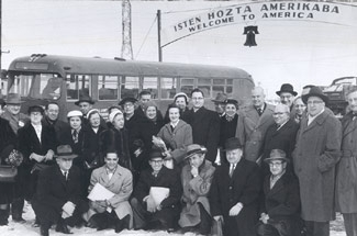 Newly arrived Hungarian Jewish immigrants to the U.S. who fled their country due to the 1956 Hungarian Revolution. (Courtesy HIAS Archive)