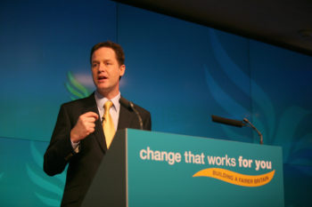 Liberal Democratic leader Nick Clegg launches his party's manifesto in London on April 14, 2010. (Alex Folkes / Creative Commons)