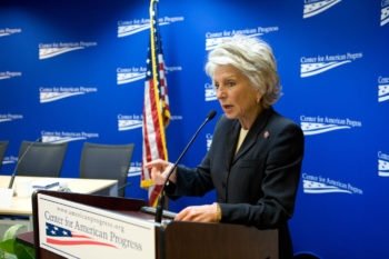Rep. Jane Harman (D-Calif.), seen here speaking at a Center for American Progress event, is at the center of revelations that the U.S. government wiretapped her conversation about the classified information case involving AIPAC staffers. (Center for American Progress)