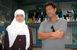 Director Pierre Rehov with a captured would-be female suicide bomber, featured in his film ´Suicide Killers.´ (City Lights Pictures)