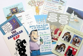 A crop of humorous greeting cards for Chanukah. ()
