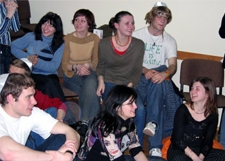 Members of the Kiev Hillel in a file photo. (Sue Fishkoff)