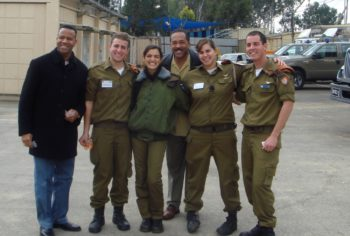 Members of a visiting delegation of U.S. fire chiefs meet with Israeli soldiers during their recent trip to Israel. (Courtesy Assistant Fire Chief Eugene Campbell)
