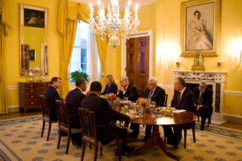 President Obama holds a working dinner with, clockwise from left, King Abdullah II of Jordan, U.S. Secretary of State Hillary Clinton, Israeli Prime Minister Benjamin Netanyahu, Palestinian Authority President Mahmoud Abbas, Quartet envoy Tony Blair and Egyptian President Hosni Mubarak in the Old Family Dining Room of the White House, Sept. 1, 2010. (White House / Pete Souza)